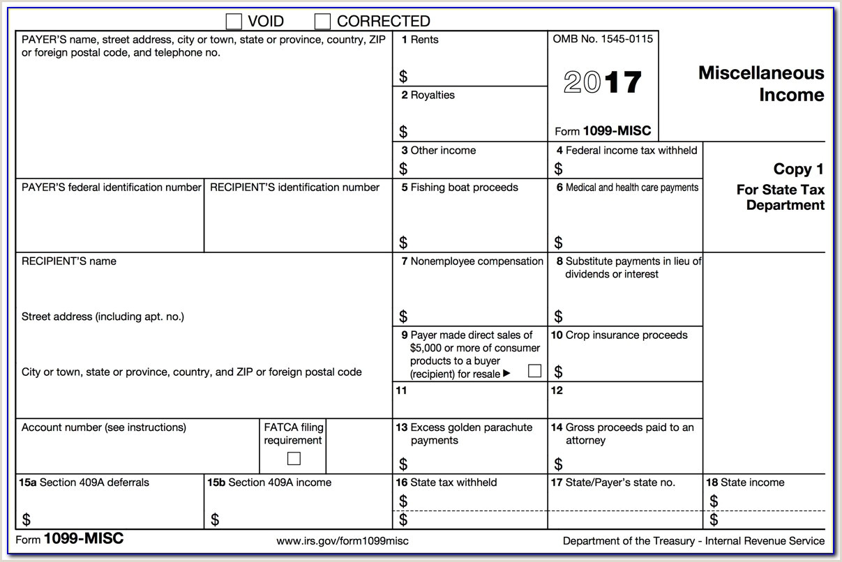 1099 Form Printable In e Tax Blank 2017 2018 2 Per Page