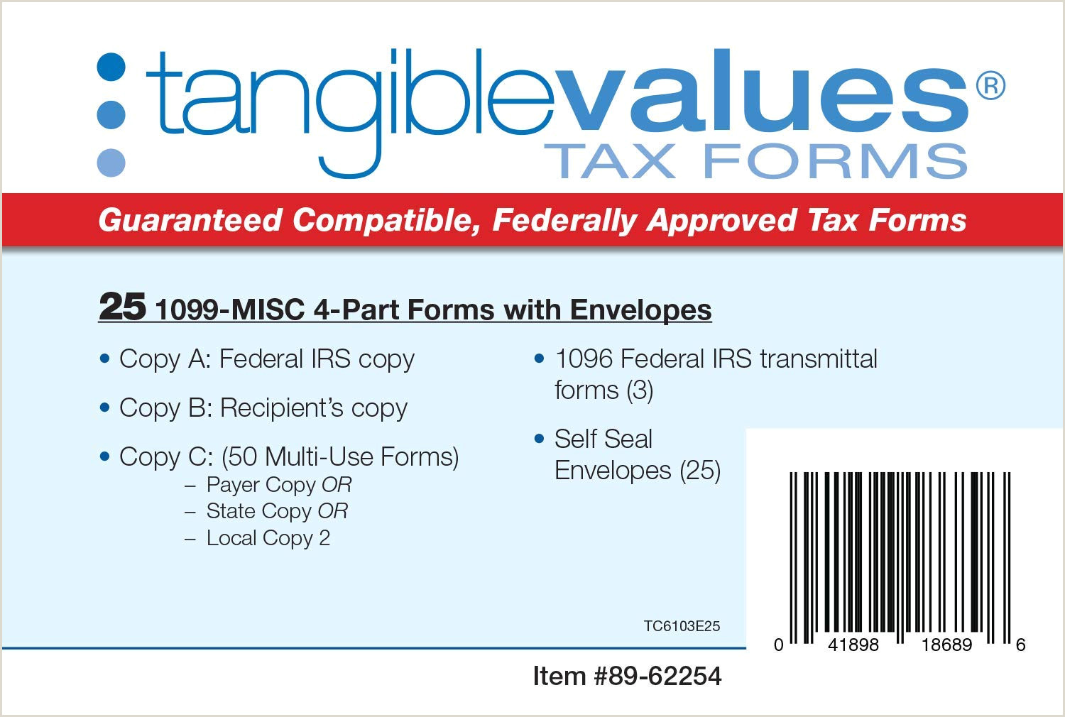 Tangible Values 1099 Misc Laser Forms 4 Part Kit with Env for 25 Vendors 3 Form 1096 s 2019