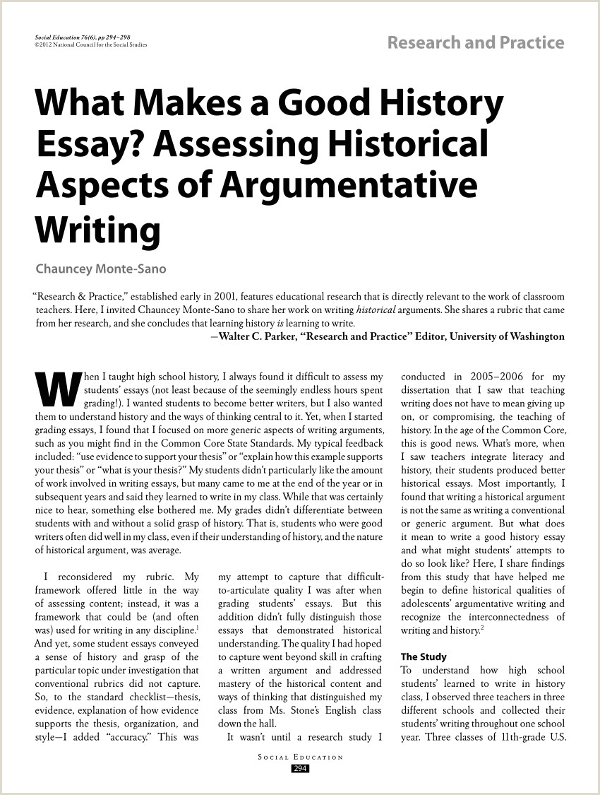 2010 Ap World History Dbq Essay Pdf What Makes A Good History Essay assessing Historical