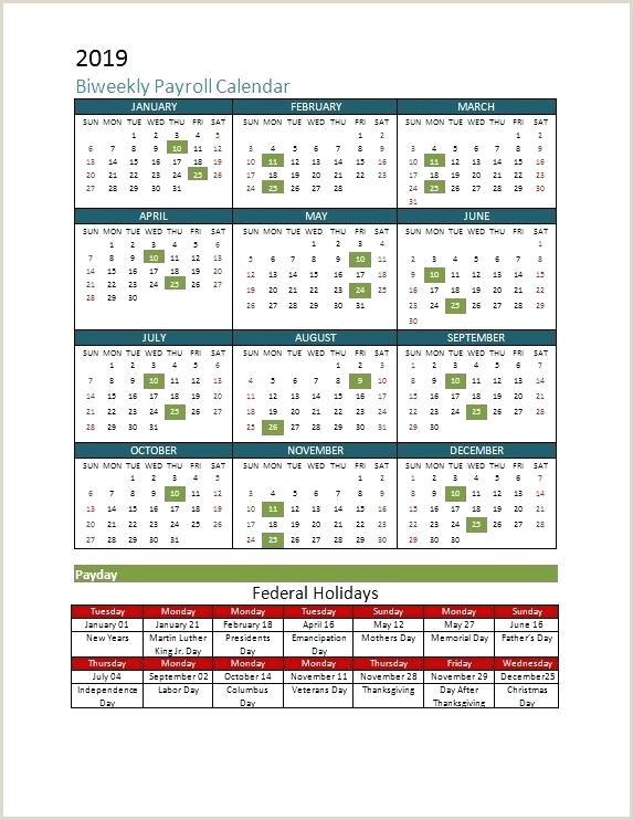 Best Payroll Calendar Template Free Biweekly Excel 2019