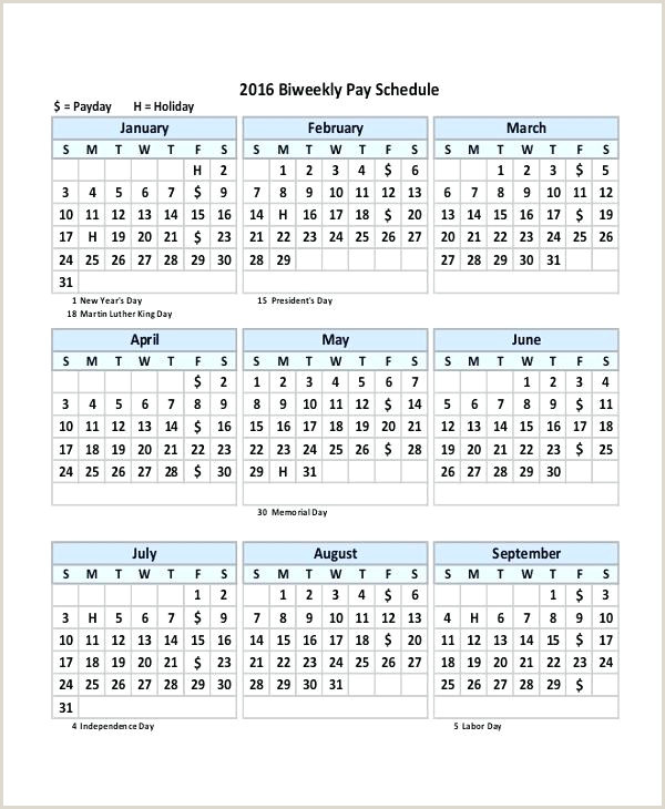 Payroll Calendar Template Monthly Biweekly 2019 Excel