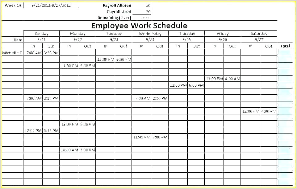 Weekly Employee Shift Schedule Template Excel Work Free