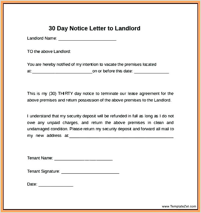 30 Day Notice Sample Letter Landlord to Tenant Sample Letters