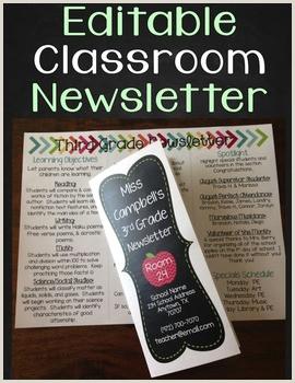 Newsletter Template Editable Classroom Newsletter Brochure