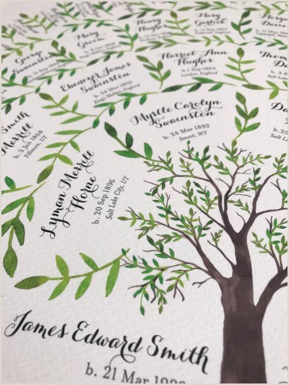 5 Generation Family Tree Template 6 Generations Genealogy Family Tree Chart Watercolor Art