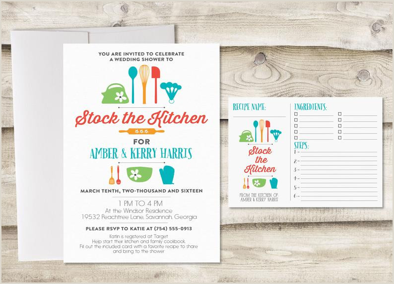 5x7 Recipe Card Holder Stock the Kitchen Bridal Shower Invitation with Recipe Card Couples Kitchen Shower Invitation Invitation for Kitchen Bridal Shower