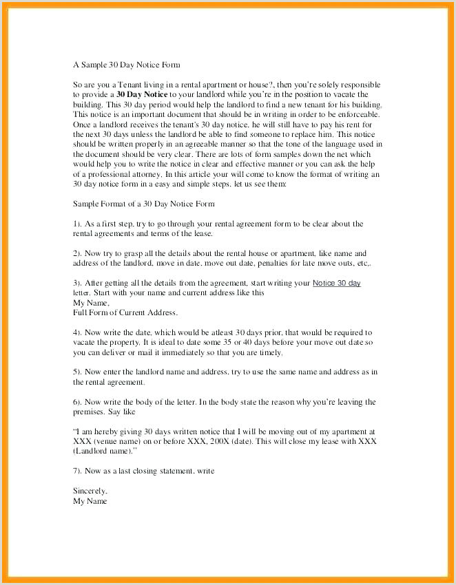 Day Notice To Landlord 30 Letter Template California