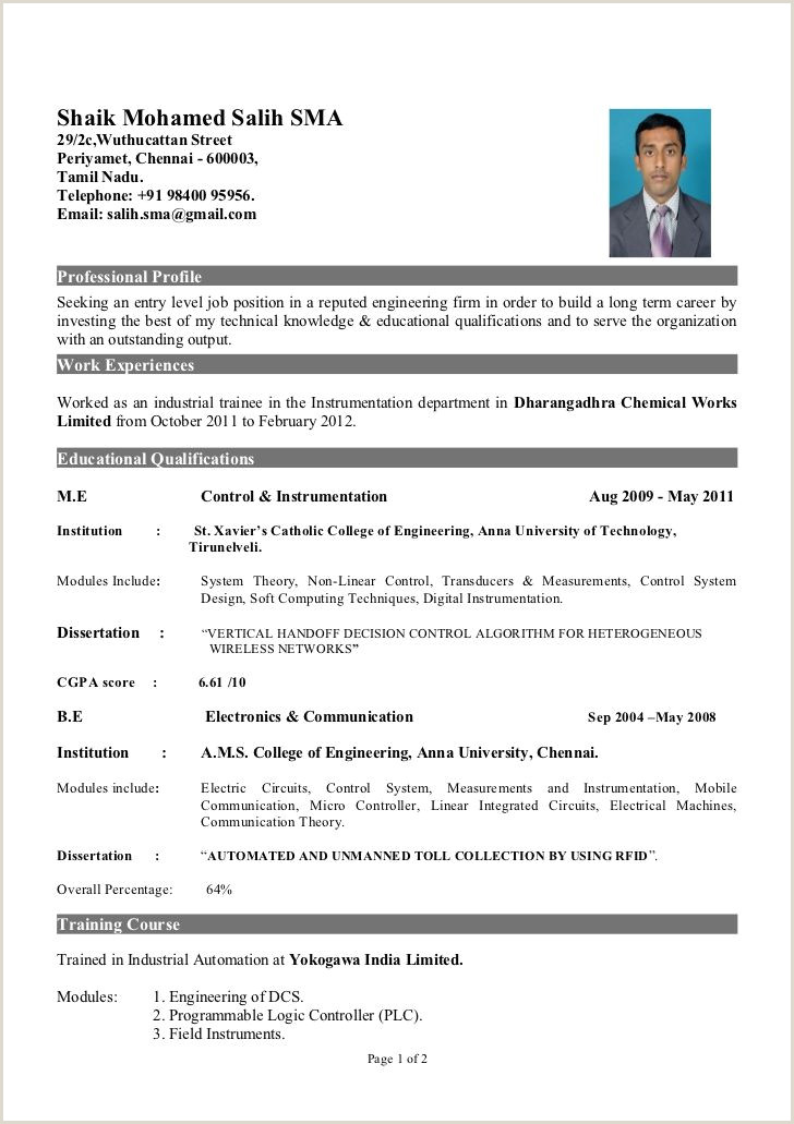 A Standard Cv format for Freshers Fresher Of Instrumentation Engineer Cv