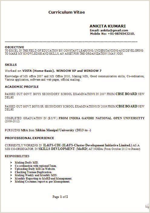 A Standard Cv format Modele De Cv College