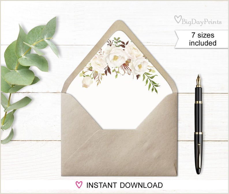 A6 Envelope Liner Template Envelope Liners Envelope Liner Template Watercolor Floral White Flowers Boho Chic Match to A051 A053