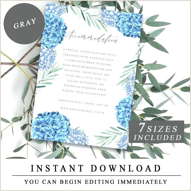 Accommodation Card Wording Wedding Ac Modation Template Blue Flowers Insert Cards
