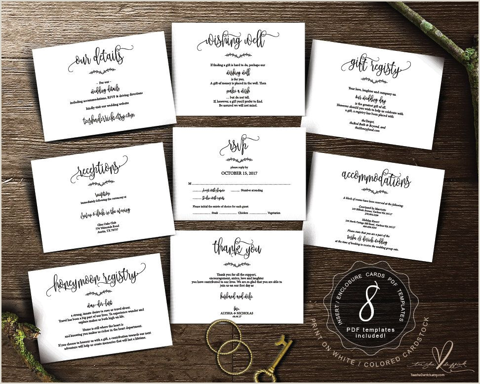 Accommodation Card Wording Wedding Insert Cards Pdf Template Instant