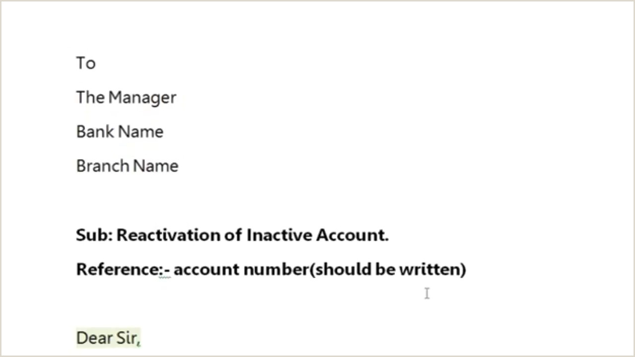 Account Manager Cover Letter Sample How to Write Application to Bank Manager to Reactivate Reopen the Account Simplified In Hindi