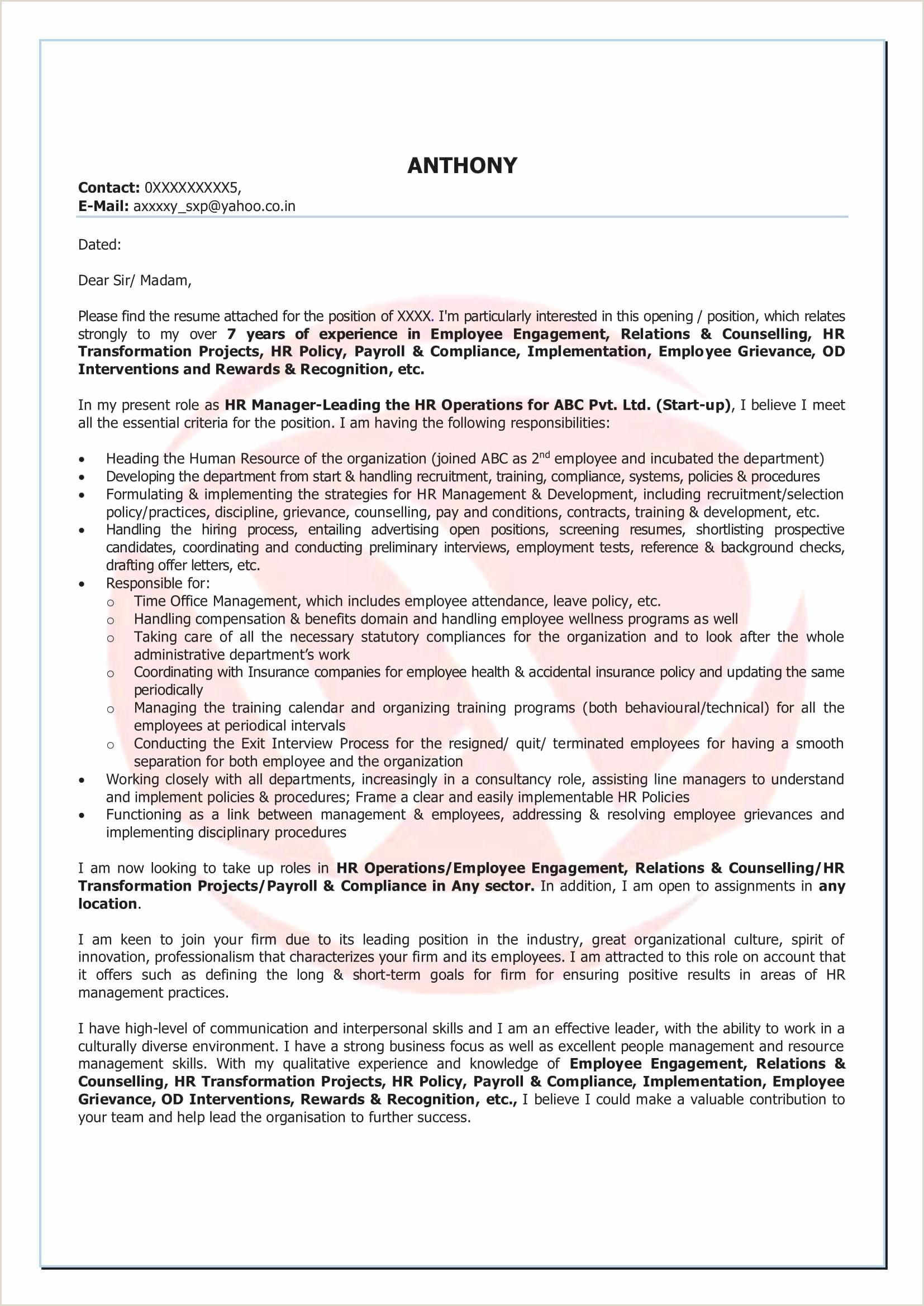 Account Manager Cover Letters 10 Executive Cover Letter for Resume