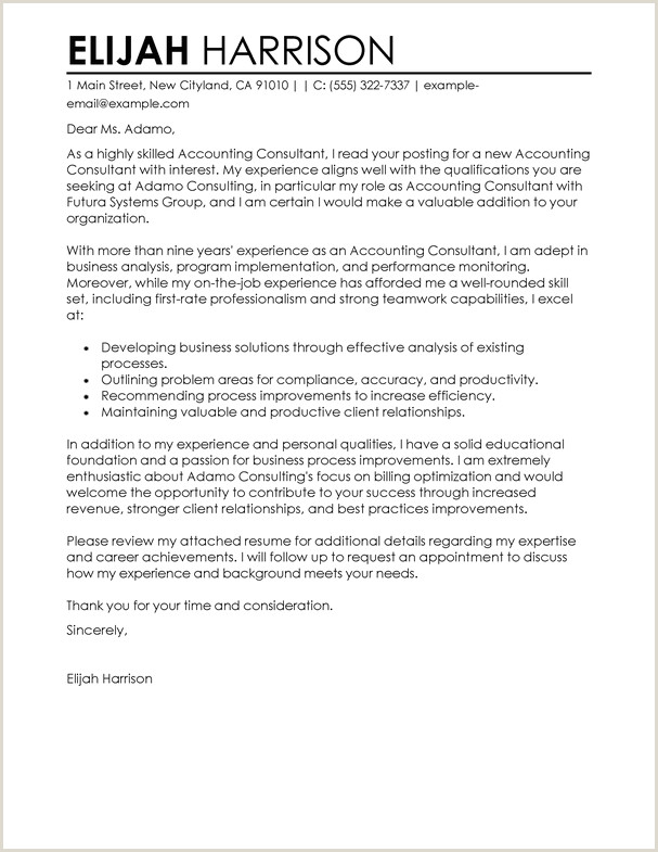 Accountant Cover Letter Samples Best Consultant Cover Letter Examples