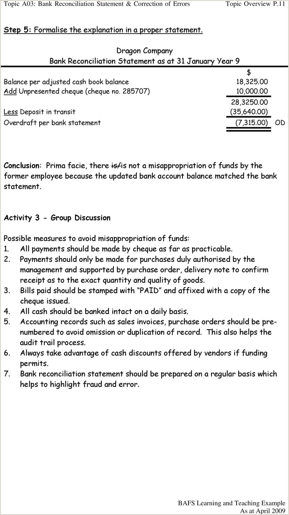 Accounting Coach Bank Reconciliation topic A03 Bank Reconciliation Statement & Correction Of