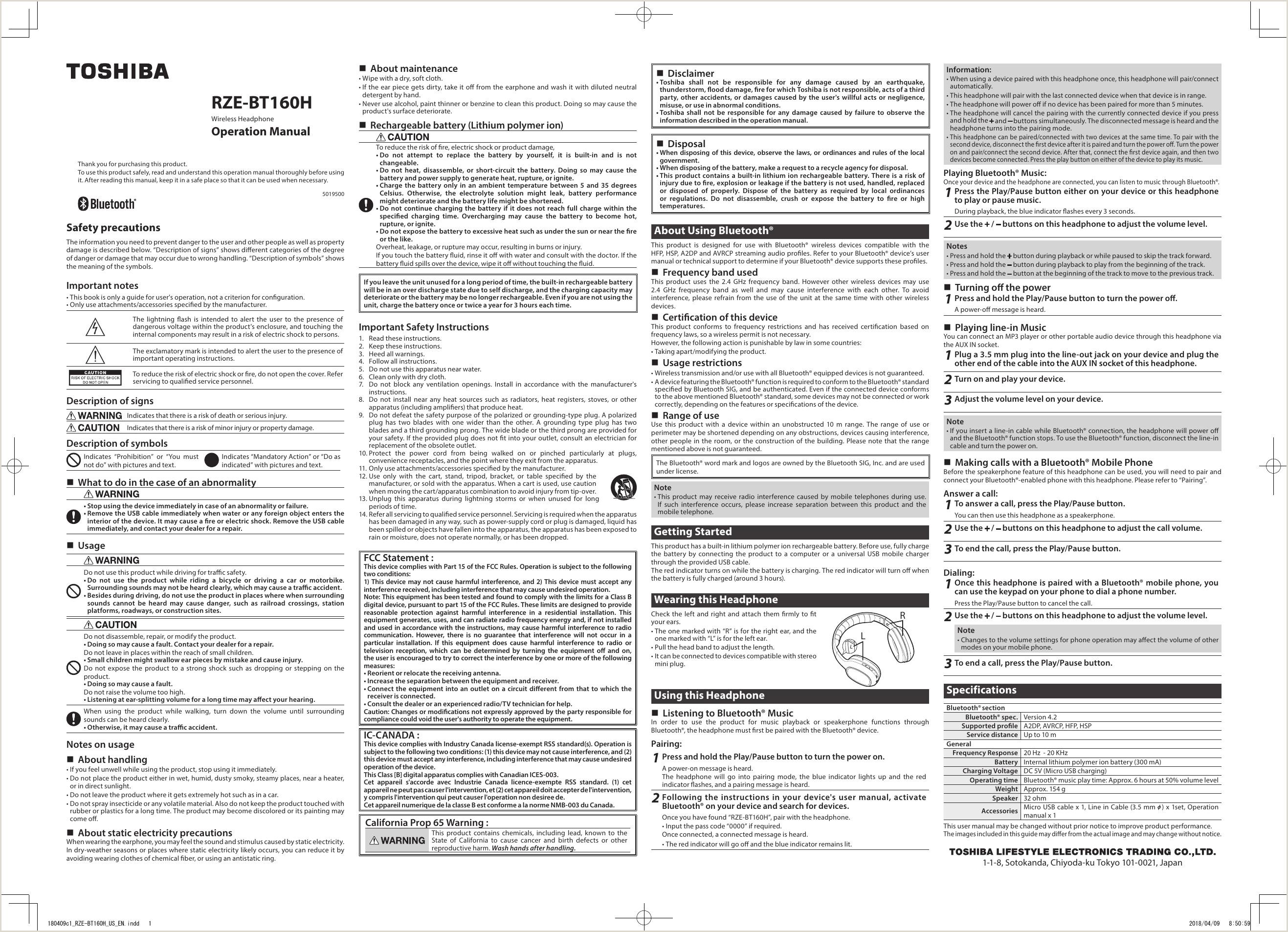 BT160H Bluetooth Earphone User Manual c1 RZE