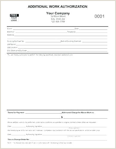 Construction Work Authorization Form Template Construction