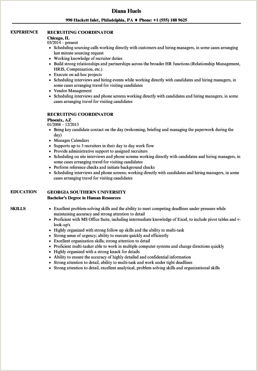 Admissions Coordinator Resume Recruiting Coordinator Resume Samples