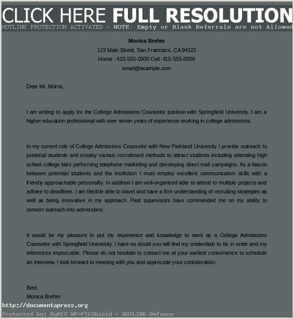 cover letter for admissions counselor no experience