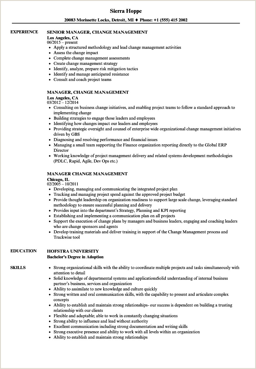 Agile Project Manager Resume Manager Change Management Resume Samples