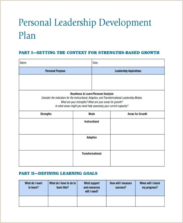 Personal Development Leadership Action Plan Example Template