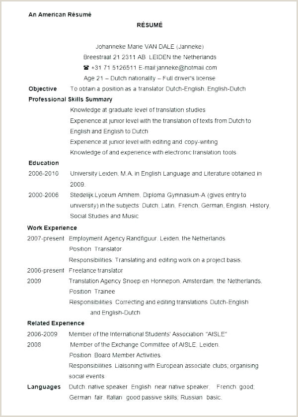 free cv format template