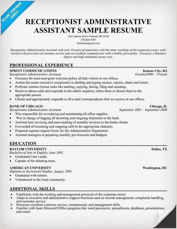 Resume Template for Receptionist – Salumguilher