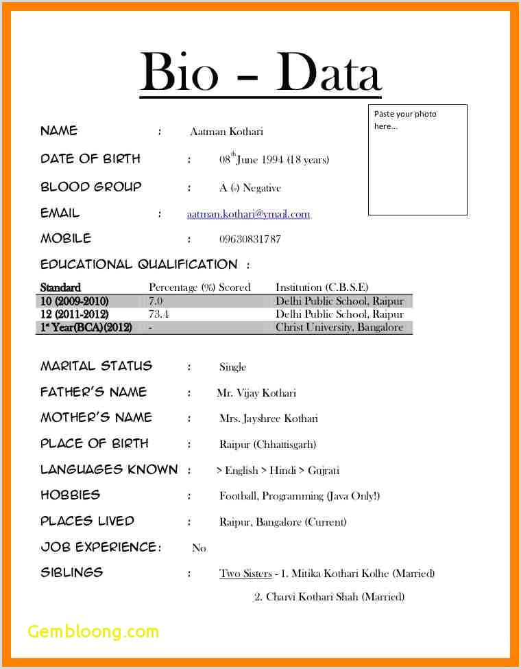 Application for Job format In English format Biodata for Job Pdf Inspirational Job Biodata