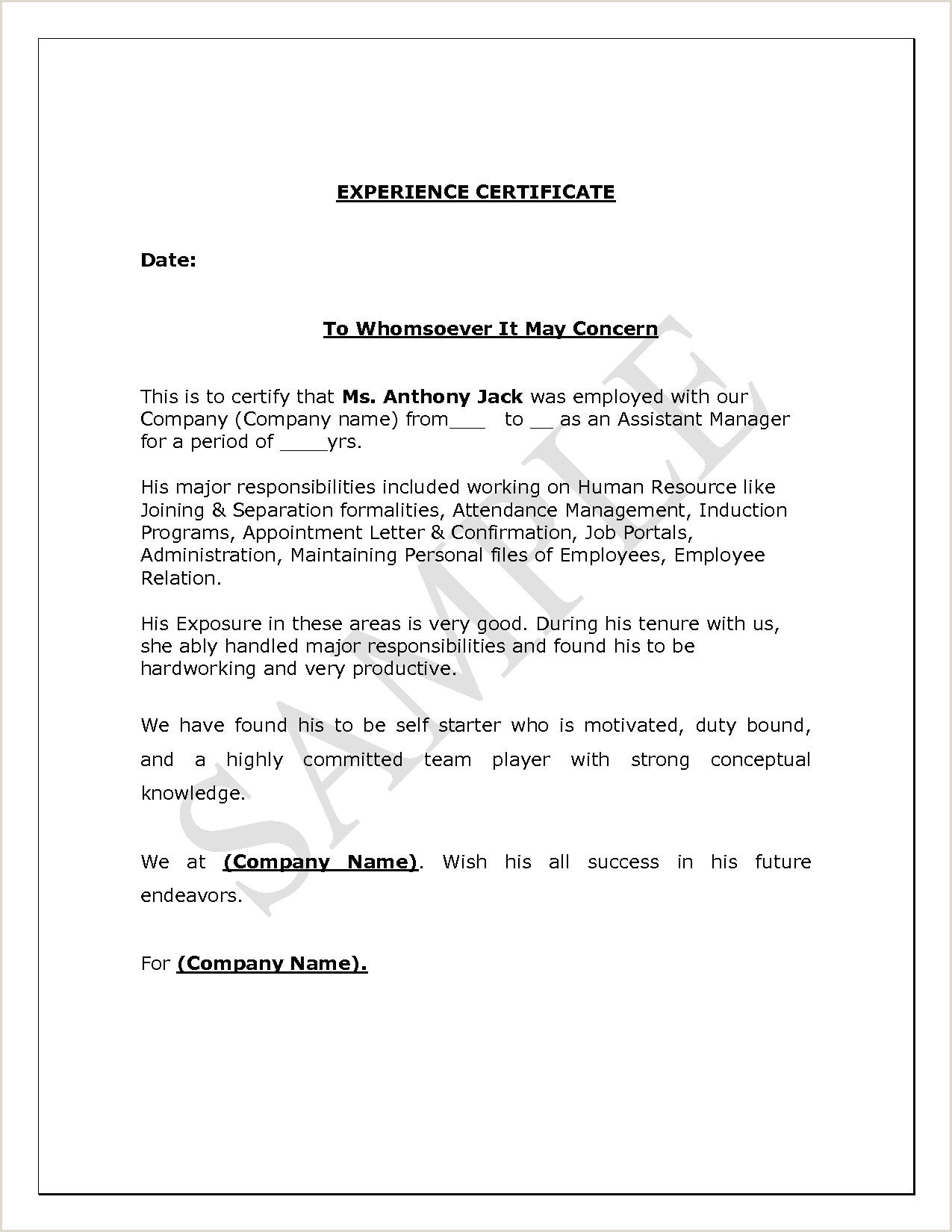 Applying for A Supervisory Position No Experience Experience Letter format Supervisor Copy Experience