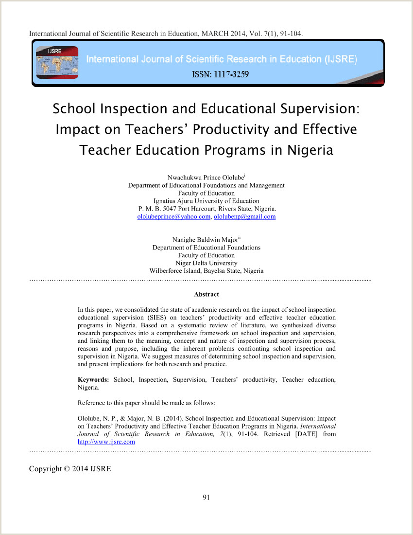 PDF School Inspection and Educational Supervision Teachers