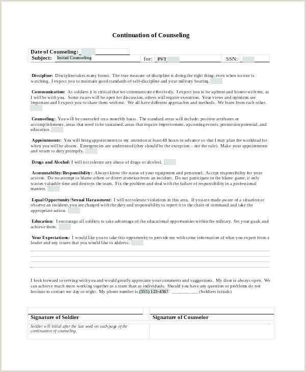 Army Initial Counseling form Monthly Household Expenses Template Counseling Marine Corps