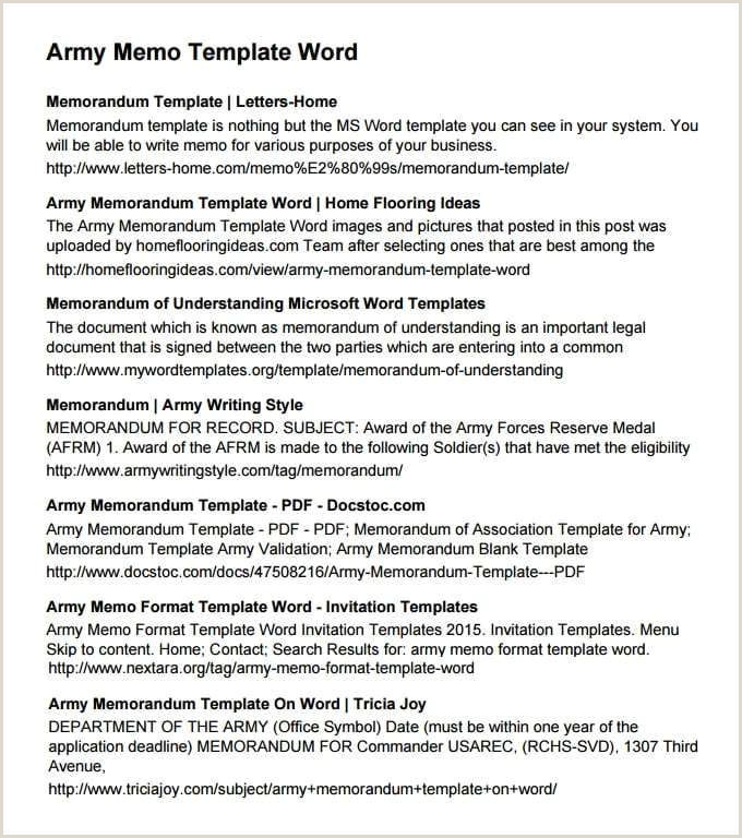 Army Memorandum Template 3 Templates