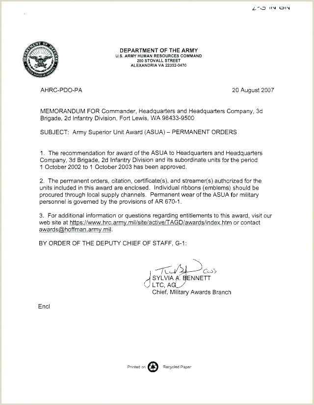 Letter In Lieu Orders Template Army Us Military Pcs Example