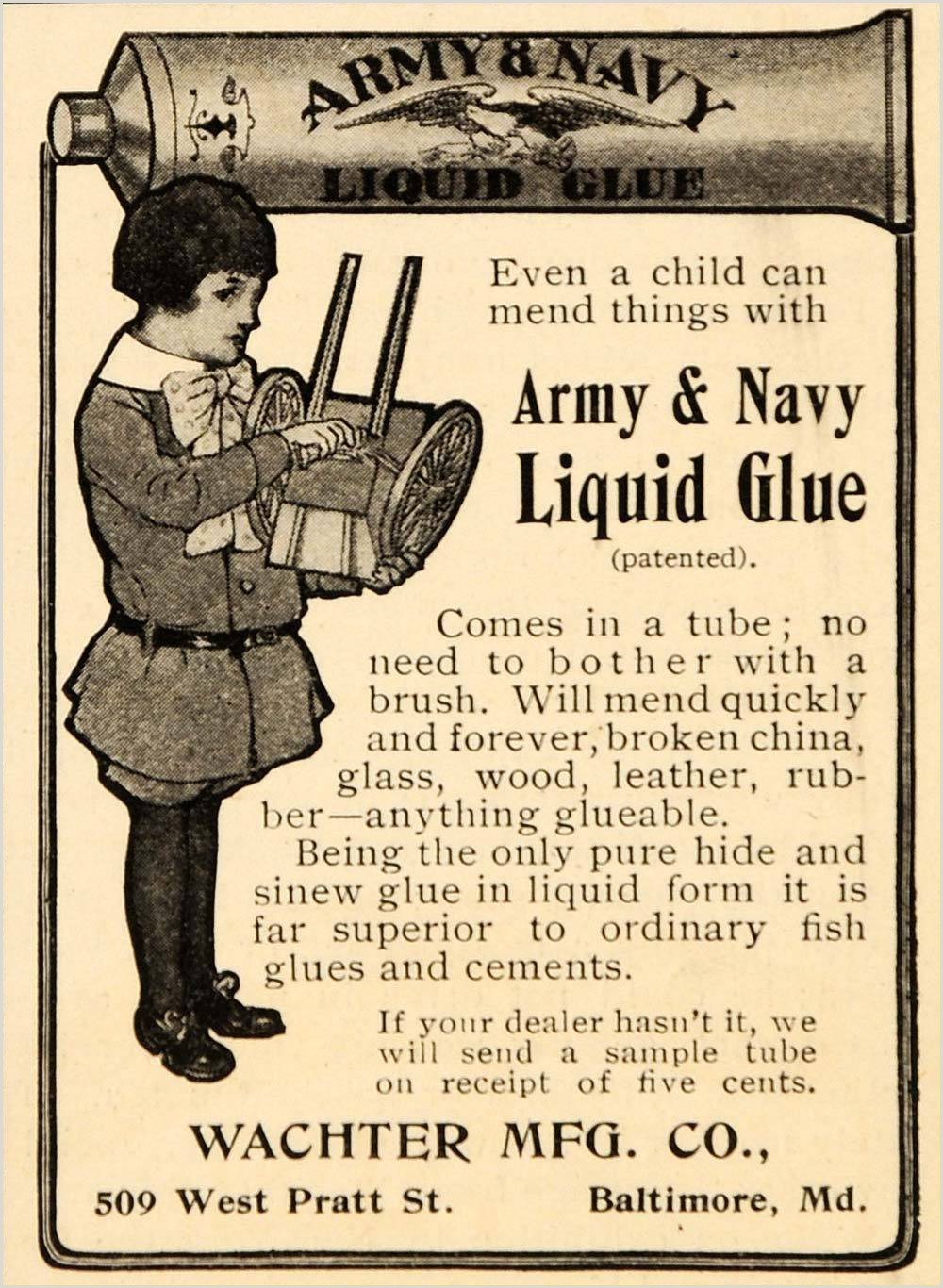 1904 Ad Army Navy Liquid Glue Wachter Manufacturing ORIGINAL ADVERTISING OD1