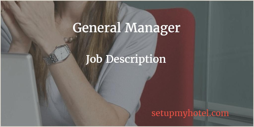 Asst Front Office Manager Job Description General Manager Hotel Manager Job Description