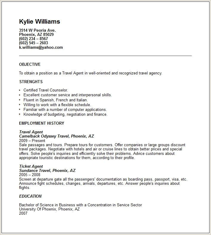 Travel Agent Resume Example restaurant manager resume