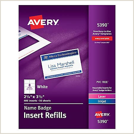 "Avery 5390 Templates Avery Laser Name Badge Inserts 2 1 4"" X 3 1 2"" Box 400 Item"