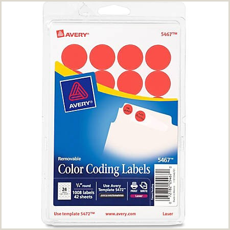 """Avery Removable Round Color Coding Labels 5467 3 4"""" Diameter Red Glow Pack 1 008 Item"""