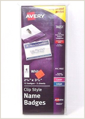 """AVERY GARMENT FRIENDLY Clip Style Name Badges 2 25"""" x 3 5"""