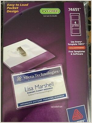 """AVERY GARMENT FRIENDLY Clip Style Name Badges 2 25"""" x 3 5"""" White"""