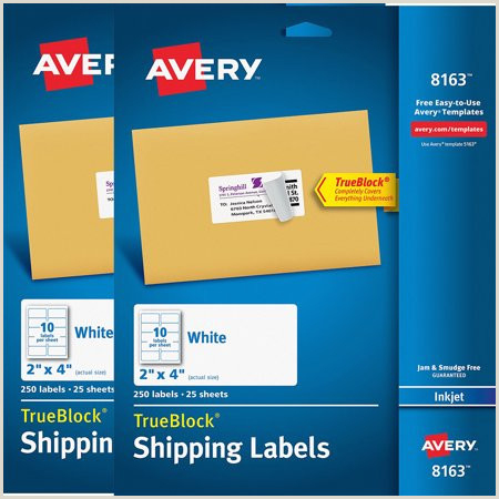 "Avery 8163 Template 2 Pack Avery R Shipping Labels with Trueblock R Technology for Inkjet Printers 8163 2"" X 4"" Pack Of 250"