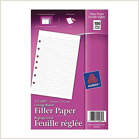"Avery 7 Hole Punched Mini Binder Filler Paper 5 1 2"" x 8 1 2"" College Ruled Pack 100 Sheets Item"