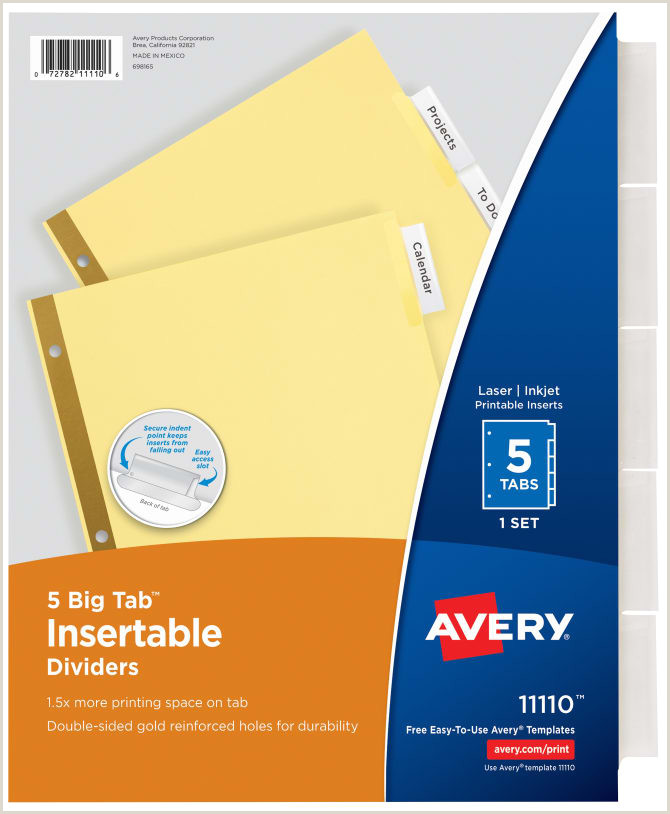 Avery Big Tab™ Insertable Dividers Buff Paper Clear Tabs 5 Tab Set