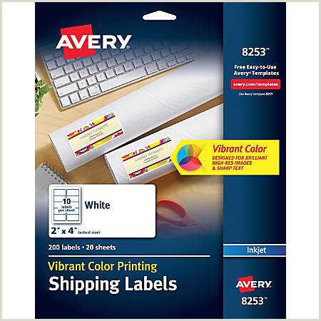 "Avery Templates for Openoffice Avery Inkjet Shipping Labels for Color Printing 8253 2"" X 4"" White Pack 200 Item"