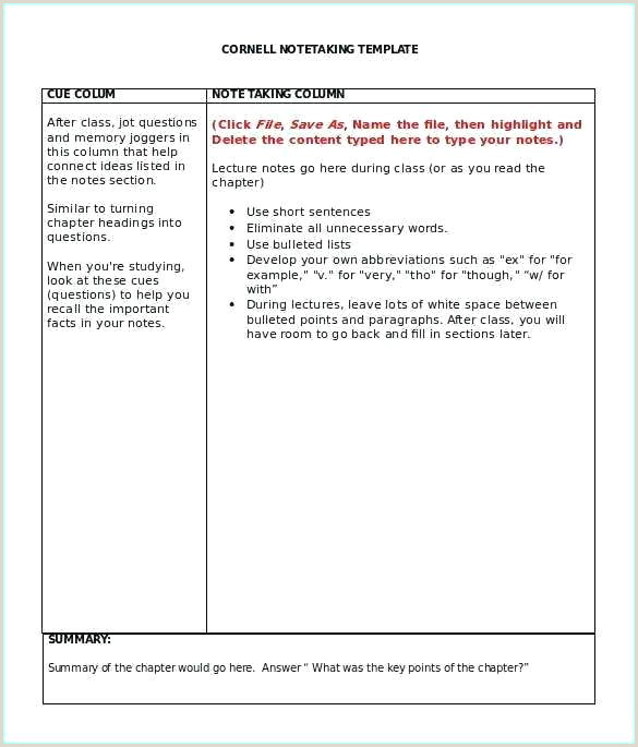 Free Notes Template Word Key Cornell Note Taking Download