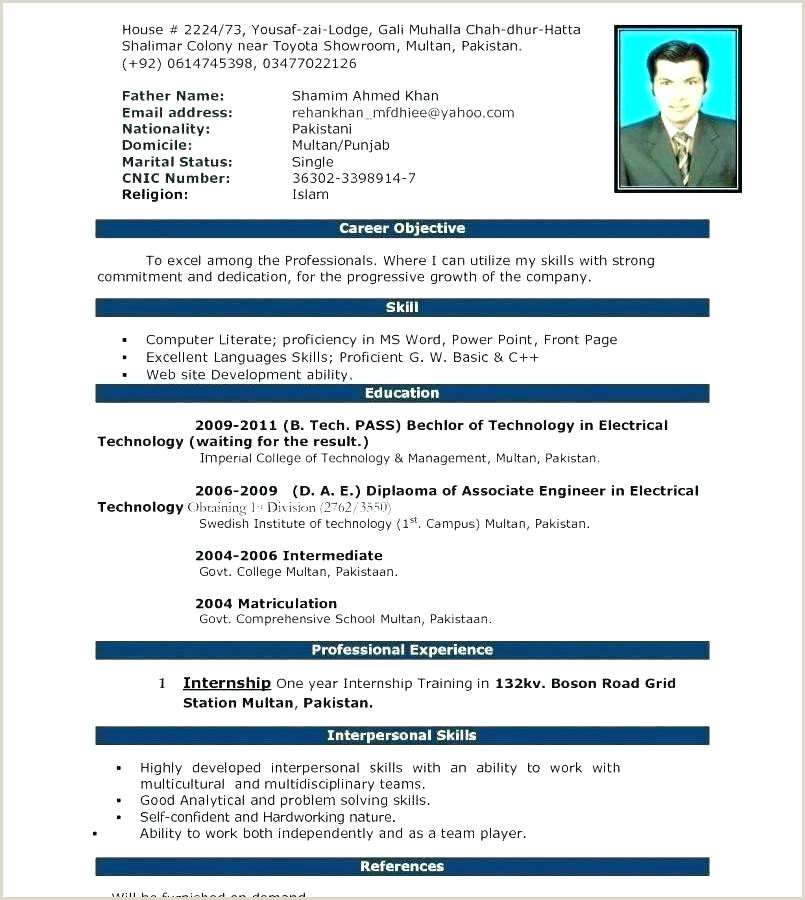 B Tech Fresher Resume Format Doc Download Resume Format Template