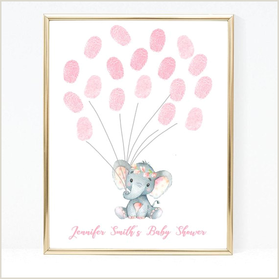 Baby Shower Guest Book Printable Elephant Baby Shower Thumb Print Printable Balloons Baby