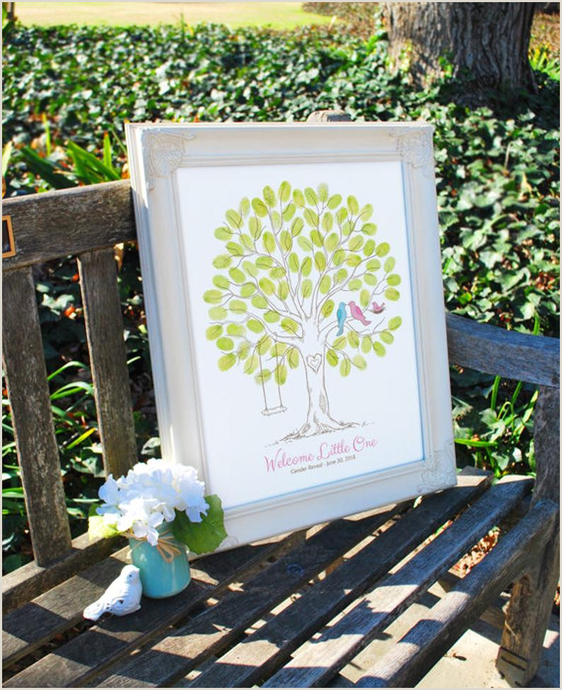 Baby Shower Thumbprint Tree Guest Book Alternative Gender Reveal Party Baby Announcement Nursery Wall Art Birds & Swing Canvas or Print