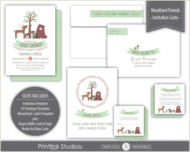 Woodland Theme Baby Shower Invitation Suite Printable Instant Download Green B330 IS1